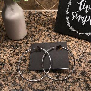 """3"""" silver hoop pierced earring"""